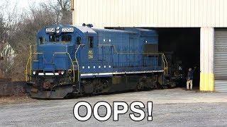 Old Locomotive has Trouble Switching Cars - Hits Garage Door + Wheel Slip!
