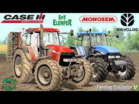 Farming Simulator 17 | Case Maxxum 190 + EMY Elefener SPL400 | New Holland TM175 + Monosem NG4