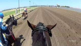 Juan Rivera Helmet Jockey Cam at Canterbury Park