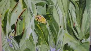 Oil Painting by R. Erik Weigand, Bee on Golden Wings