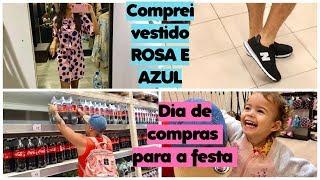 COMPREI VESTIDO ROSA E AZUL PARA A FESTA + COMPRAMOS OS REFRIGERANTES   Dia de compras para festa
