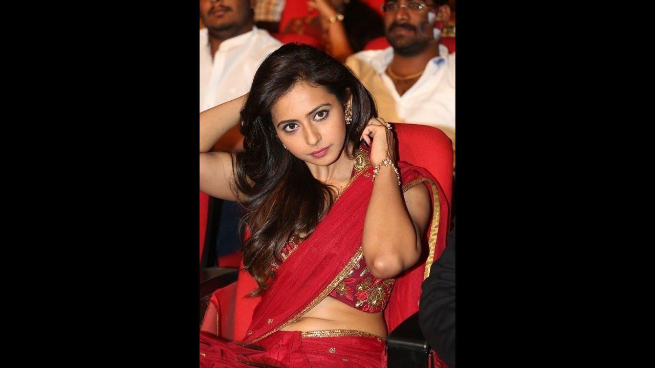 Rakul Preet Singh Hot Navel Show in Red Saree | Tiger - YouTube