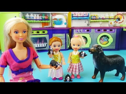 Кухня и прачечная Hello Kitty для кукол Барби, Штеффи. Развивающее видео / playset, dolls