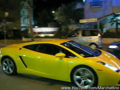 Yellow Lamborghini Gallardo At Night