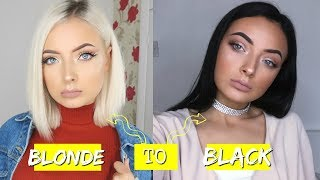 I DYED MY HAIR FROM BLEACH BLONDE TO BLACK!