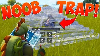 Trolling noob on Fortnite by editing him off platforms and dancing on him