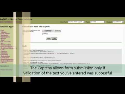 JS Auto Form Validator - Captcha Validation example