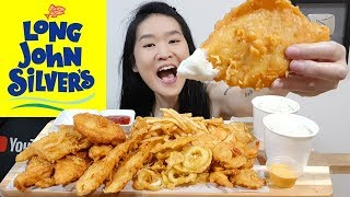 LONG JOHN SILVER'S Seafood Feast! Fish N Chips, Fried Chicken, Calamari & Shrimp Eating Show Mukbang