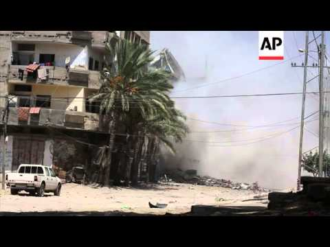 Building collapses after airstrike