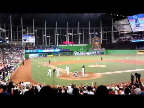 Miami Marlins Giancarlo Stanton Grand Slam Breaks Scoreboard