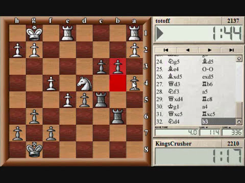 Chess World.net:  Blitz #61 vs. totoff (2137) - French: Steinitz, Boleslavsky variation (C11)