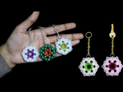How To Make Personalized Keychians At Home With Beads || Crystal Beads Keychain