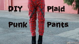 DIY Punk Plaid Pants with Chains