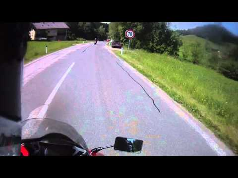 BMW K1300GT followed by Moto Guzzi MGS-01