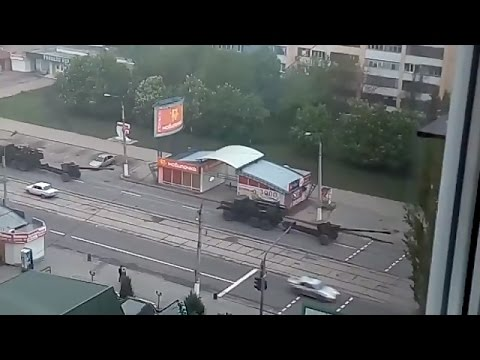 Ukraine War - Russian armed forces equipment rolling into Lugansk Ukraine