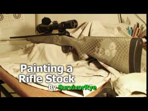 painting a rifle stock camo with skulls. Black Bedroom Furniture Sets. Home Design Ideas