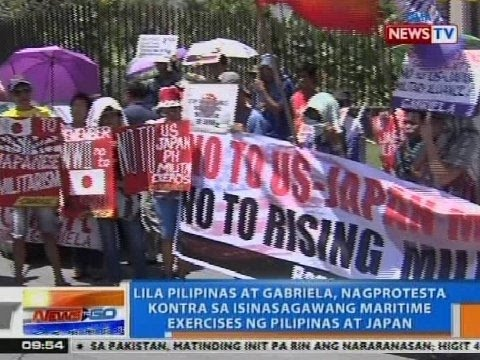 NTG: Lila Pilipinas at Gabriela, nagprotesta vs. isinasagawang maritime exercises ng PHL at Japan