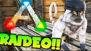 SUPER RAIDEO DE ESPARTANOS VS MONOS !! SUPER EPICO!! ARK SURVIVAV EVOLVED MODS Makigames