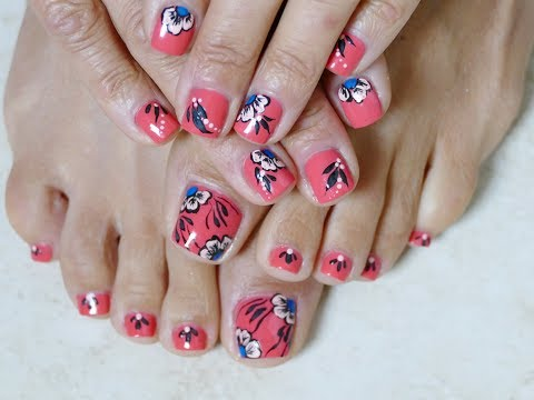 Orange and Blue Summer Pedicure Flowers Toes Art Design Easy Beginners Tutorial