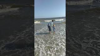 Toddlers 1st real  time at the ocean