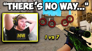 S1MPLE MADE A 1 VS 7 CLUTCH?! FLAWLESS AWP FLICKS! CS:GO Twitch Clips