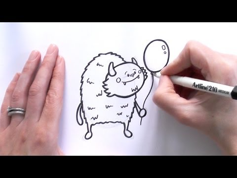 How to Draw a Cartoon Monster Holding a Balloon