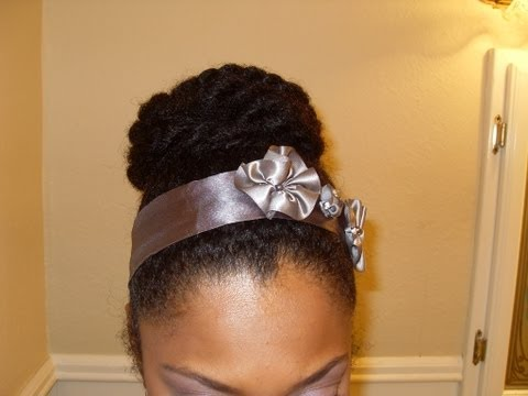 High Bun Protective Style No gel {Natural Hair} �21