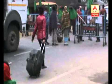 Tribal organisation's road blockade at gazol to protest violence in Assam