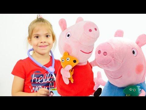 Игры для девочек: Свинка Пеппа, Джордж и больница. Видео для детей от Свинки Пеппы