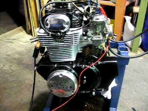 1972 Honda CB350 twin engine first run after rebuild. - YouTube