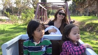 Train Ride for Kids: Hulyan, Maya & Marxlen Riding a Kiddie Train - Choo Choo!!