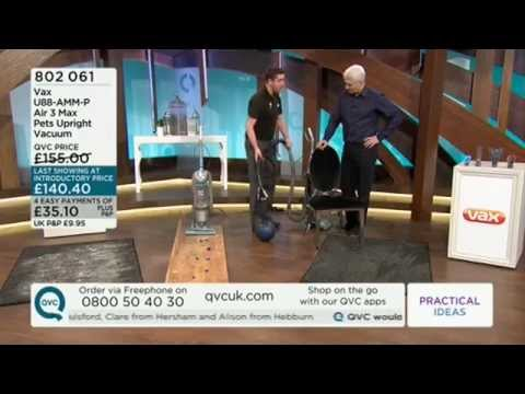 Vax Air 3 Max Pets Upright Vacuum Cleaner being demonstrated on QVC UK
