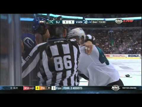 Matt Pelech Vs Andrew Alberts Fight SJ Sharks Vs Vancouver Canucks Sept 16 2013 NHL Hockey
