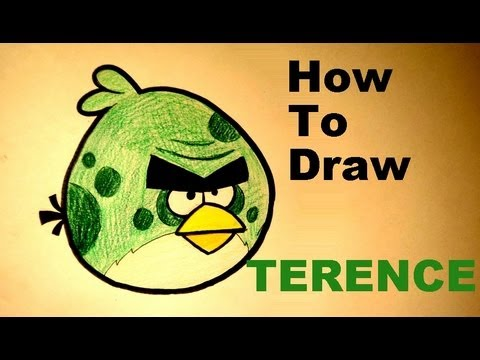 How to draw Terence from Angry Birds Space drawing lesson