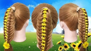 Beautiful Hair 2018 🌙 Ribbon Braid Hairstyle for medium hair tutorial 🍃 Hairstyles by yourself