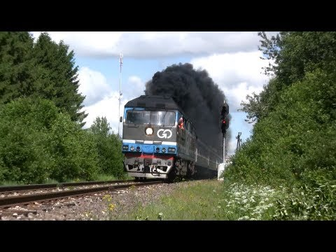 Много дыма: Тепловоз ТЭП70-0236 нa ст. Лелле / Extreme smoke: TEP70-0236 leaving Lelle station