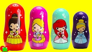 Disney Princess Nesting Dolls and Shopkins Makeup with Surprises