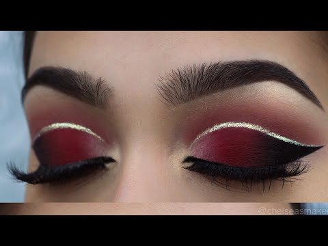 tutorial - Red cut crease + glitter - YouTube