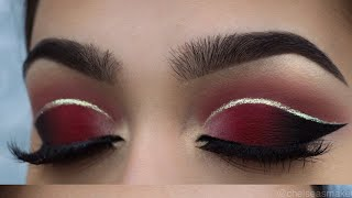 tutorial - Red cut crease + glitter