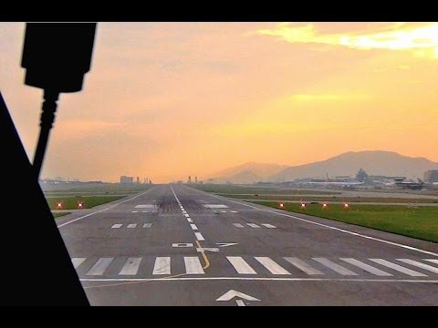 KLM Boeing 747-400F Cockpit - Hong Kong Take-Off at Sunrise