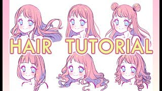 How to draw hair?Voice Over?ENG sub