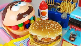 Play Doh Dentist Doctor Drill McDonald's hamburger food and Baby doll cooking toys pororo play - 토이몽