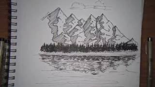 mountain landscape Drawing pen and ink