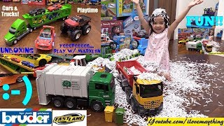 Toy Trucks Unboxing! Bruder Garbage Truck and Dump Truck. A Car Carrier Truck and Monster Truck
