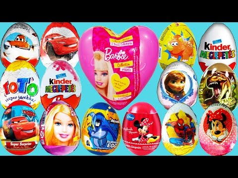 70 Surprise eggs Mickey Mouse Disney Cars Barbie Maxi Kinder Surprise eggs Minnie Mouse unboxing