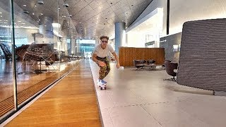 SKATEBOARDING IN A FIRSTCLASS LOUNGE