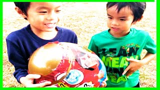 Toy Hunt Challenge for Ryan's World Giant Mystery Egg Surprise at Outdoor Playground!