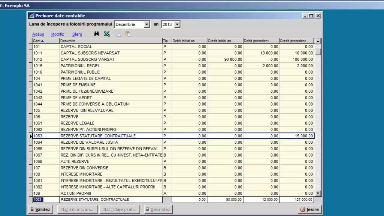 Preluare date contabile in cursul anului pentru o