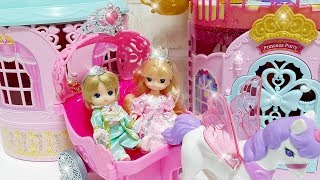 Baby doll Princess Castle Dress up, Prince and Princess with unicorn pink carriage toys play