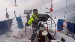 Extreme sailing, Crossing the North Sea winter extreme Sailing Conditions, Huge Waves Stormy Weather